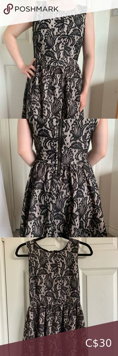 """H&M Black & White Lace Dress Black and white lace dress with inside lining and zippered back. In very good condition, worn only once.   100% polyester Size: S Brand: H&M Length: 31"""" Bust: 15"""" H&M Dresses Midi Lace Dress Black, White Lace, Black And White, Wrap Dress, Closet, Things To Sell, Dresses, Style, Fashion"""