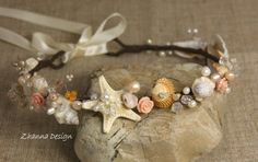 Beach Bridal Tiara,Wedding SeaShell Headpiece,Freshwater Pearls Starfish Crown,Wedding Accessories,Mermaid Hair handmade by Zhanna Design on Etsy, $42.40