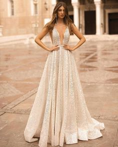 Ball gown sparkly wedding dress sleeveless deep v neckline princess See more gorgeous wedding dresses by clicking on the photo wedding food BERTA Wedding Dresses Fall 2019 - Athens Bridal Collection Gorgeous Wedding Dress, Bridal Wedding Dresses, Dream Wedding Dresses, Designer Wedding Dresses, Berta Bridal, Party Wedding, Cocktail Wedding Dress, Beige Wedding Dress, Bridesmaid Dresses