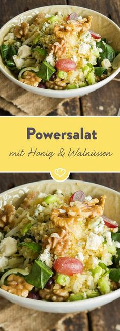 Edamame - is a small power bean that makes you happy. Especially when it comes in the salad bowl with bulgur, grapes and walnuts.Power salad with honey and walnutsKlaudia Sroka klaudiaasro Essen Edamame - is a small power bean that makes you happy. Veggie Recipes, Lunch Recipes, Pasta Recipes, Salad Recipes, Healthy Recipes, Diet Recipes, Recipes Dinner, Potato Recipes, Chicken Recipes