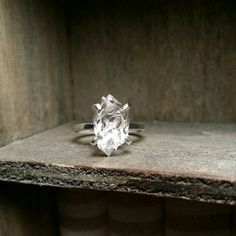 Solitaire Ring-Herkimer Diamond Quartz Crystal- Sterling Silver or Gold Filled