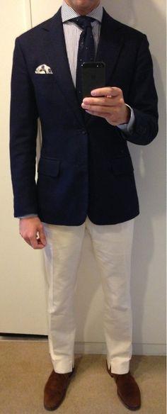 Bespoke Anderson & Sheppard jacket Ohnona MTM off-white flannel trousers Kamakura shirt Rubinacci tie C&J chukkas