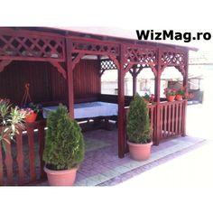 Foisor rustic dreptunghiular Mangalia Terrace Garden, Backyard, Outdoor Structures, Pergola Ideas, Fun, House, Decks, Gardening, Gardens