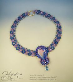 Lady in violet  , tatted necklace OOAK