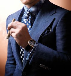 #MensFashion #Gentleman #Men #Fashion #BlueSuit #Jacket #SingleBreasted #Watches #Cigars #Shirt #Tie #Pocketsquare #Lapels #Vents #SleeveButtons #Trousers #Cuffs #Fabrics #GoodLooking #Elegance
