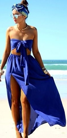 Following You Blue Strapless Tie Front Crop Top Elastic Waist Slit Maxi Two Piece Dress
