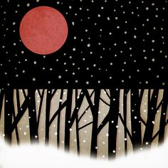 """by artist Carol Leigh"""" Red Moon And Snow"""""""