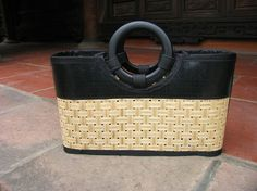 Buy Small Bamboo Bag (Circle Handle) with layflat by landfilldzine. Explore more products on http://landfilldzine.etsy.com