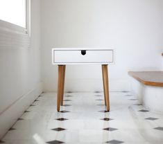 Beautiful Nightstand / bedside table inspired by Scandinavian mid-century design.    Fully handmade with high quality materials. This new version has
