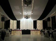 Resultado de imagen para decoracion de gala pared y techo con telas rojo y dorado