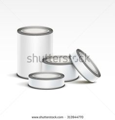 White tin box packaging container set for tea, coffee or canned tinned preserves food isolated vector illustration