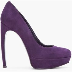 ALEXANDER MCQUEEN Purple Suede Pumps ($398) ❤ liked on Polyvore