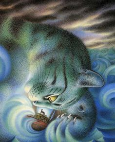 "the Mousehole Cat ...written by Antonia Barber and  illustrated by Nicola Bayley; picture of the ""Storm Cat""."