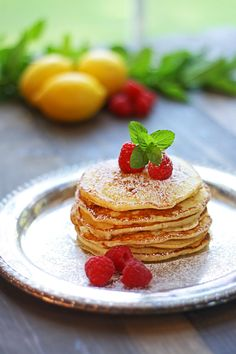 lemon ricotta pancakes with fresh raspberries