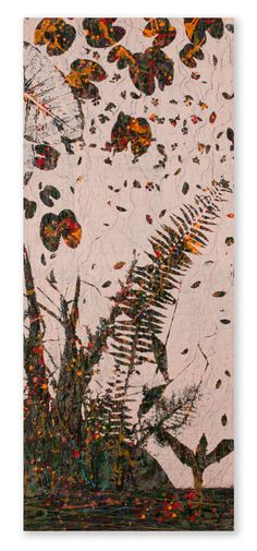 "MINNOW & LEAF  32"" x 78"" Acrylic pigments & Hand Stitching on unprimed, un-stretched canvas"