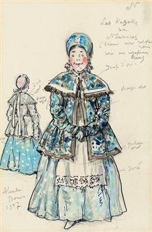 Costume design for 'Petrouchka': Nursemaid with a blue Kokoshnik By Alexandre Nikolaïevitch Benois ,1957