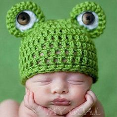 Baby Infant Newborn Handmade Crochet Knit Cap Frog Hat Costume Photograph Prop