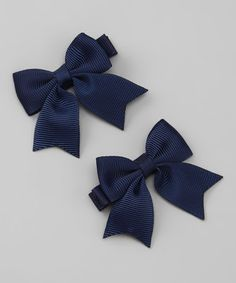Loving this Navy Blue Sweet Sarah Bow Clip Set on #zulily! #zulilyfinds
