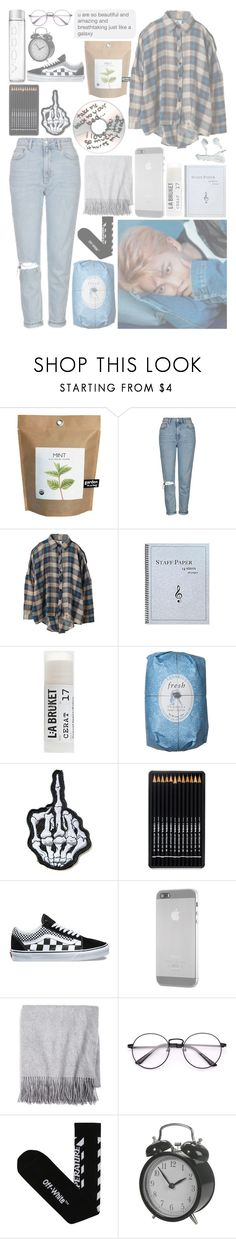 """""""⠀⠀⠀⠀⠀. . . ALL I KNOW IS HOW TO BE WHO I AM"""" by allvring ❤ liked on Polyvore featuring Topshop, UNIF, Toast, Fresh, Vans, OZAKI, Sofiacashmere and Off-White"""