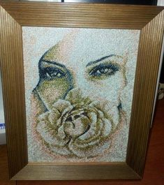 framed woman and rose photo stitch embroidery