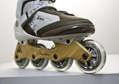 Reduce Your Carbon Skateprint: K2 Eco InlineSkates.  Inline skate innovators at K2 skates have recently added another industry first to the company's catalogue of cutting edge developments. Not only are the boots and laces made from recycled plastic bottles but the wheel frame is made from bamboo.