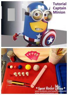 Captain America Minion tutorial: step by step how to make fondant minion superhero