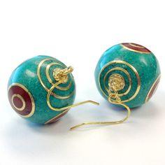Turquoise and Gold Earrings Dangle Tibetan by jewelrybycarmal, $25.00