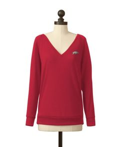 Meesh & Mia Women's University of Arkansas Pull-over V-Neck Sweater  http://www.countryoutfitter.com/products/46214-womens-university-of-arkansas-pull-over-v-neck-sweater