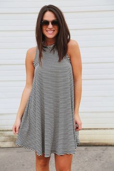 Black & Ivory Striped Swing Dress