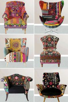 Pour les amoureux du style bohème, un site magnifique: The gypsy lifestyle boho chic is for the nomad at heart. It represents a collection of various different colors, patterns and textiles and creates a bold style. The basic essence of Boho chic is. Bohemian Furniture, Funky Furniture, Painted Furniture, Art Furniture, Furniture Design, Patterned Furniture, Painted Chairs, Furniture Chairs, Colorful Furniture