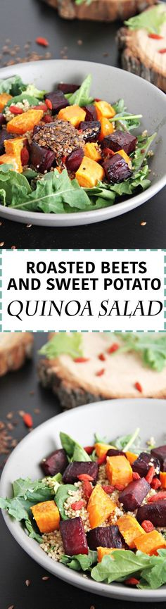 Roasted Beets and Sweet Potato Quinoa Salad. Salad: 3 Beets 1 Sweet Potato Pinch of Salt Cup Uncooked Quinoa 3 Cups Spinach 1 Tbsp Goji Berries 1 oz. Healthy Side Dishes, Healthy Salads, Healthy Eating, Healthy Recipes, Locarb Recipes, Clean Eating, Bariatric Recipes, Quick Recipes, Diabetic Recipes
