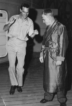 Dennis Weaver learning some steps from James Cagney between takes on the set of The Gallant Hours