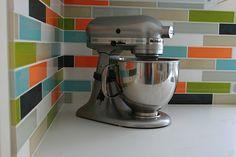 Ceramic subway tile for kitchen backsplash or bathroom tile in blue color Splash