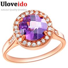 Find More Rings Information about Uloveido Wedding Rose Gold Plated Rings for Women Purple Red Crystal Jewelry Zircon Anel Feminino Bijoux CZ Diamond Ring J203,High Quality ring three,China ring styles for women Suppliers, Cheap ring 2008 from ULOVE Fashion Jewelry Official Store on Aliexpress.com