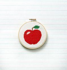 Cross-stitch Apple. Free Cross-Stitch Templates - Printable Cross Stitch Patterns