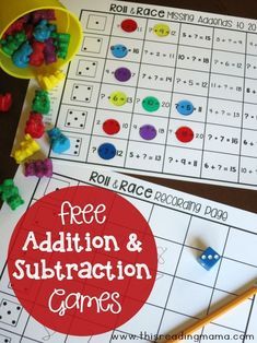 Would you like some creative ways to practice addition and subtraction? Then, be sure to check out these addition and subtraction games from our Math Activities series! These math activities… Subtraction Activities, Math Activities, Math Worksheets, Therapy Activities, Printable Worksheets, Math Fact Fluency, Second Grade Math, Grade 2, 1st Grade Math Games