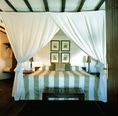 Klein's Camp, Serengeti, TZ, love the colors, the neutrals and of course the netting. Safari Bedroom, Serengeti National Park, Tanzania, Kenya, African Safari, Outdoor Furniture, Outdoor Decor, Dream Vacations, Lodges