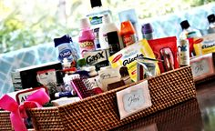 Wedding bathroom basket - Such a good idea!!!
