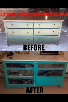 Cody's DIY Rabbit Hutch made from an old dresser!