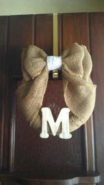 Burlap and lace bow wreath with monogram