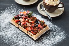 Fresh Belgian waffles with hot chocolate. Advertising Photography by Evangeline Aguas Belgian Beer, Belgian Waffles, Advertising Photography, Food Photography, Product Photography, Menu Items, Canapes, Hot Chocolate, Fresh