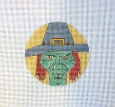 Halloween Wicked Witch  Handpainted Needlepoint by MarsyesShoppe