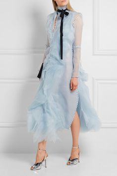 sky blue silk organza button fastenings along front button and concealed zip fastening