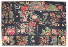 Siesta 1504 Rosa Siyah Makine Patchwork Halı,Eskitme Halı MODEL HALI