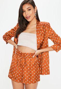 Missguided - Orange Satin Polka Dot Shorts