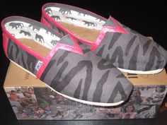 Zebra Stripe with Pink Trim Painted TOMS