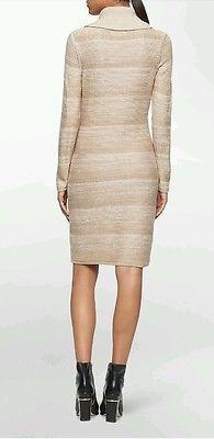 NWT CALVIN KLEIN WOMEN'S MOCK NECK SPACE DYE LATTE SWEATER DRESS M MSRP $129.50