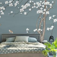 One Large Magnolia Tree Flowers Tree Wallpaper Wall Mural, White Flowers with Birds Wall Murals, Birds and Flowers Floral Tree Wallpaper Home Decor Bedroom, Bedroom Wall, Bedroom Apartment, Bedroom Sofa, Bedroom Curtains, Bedroom Lamps, Bedroom Colors, Wallpaper Wall, Flower Wallpaper