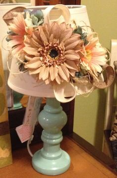 Handmade, Cottage chic, shabby chic, decorated lamps, dorm room, floral lamps, aqua and peach, burlap flowers, aqua base, table lamp, bedside lamp, small lamps, girls room, decorative lamps, lamp ideas,