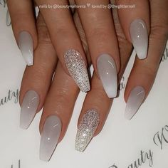 Grey to white ombre and glitter on coffin nails nail artist beautynailsvera her for more gorgeous nail art designs! Grey Acrylic Nails, Gray Nails, Glitter Ombre Nails, Matte White Nails, Black Ombre Nails, Coffin Nails Ombre, Grey Nail Art, Matte Nail Polish, Gorgeous Nails